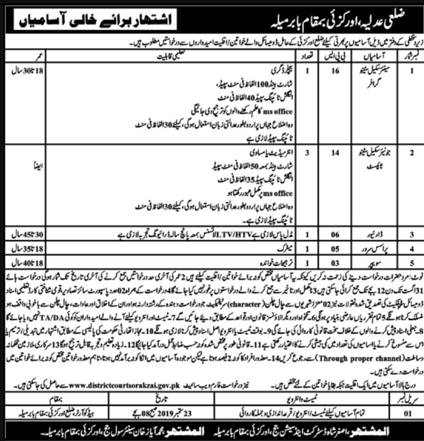District & Session Court Orakzai Babar Mela Jobs 2019 KPK