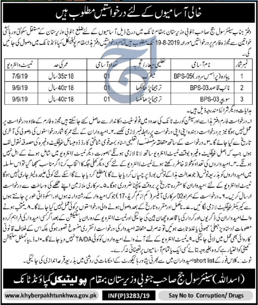 District & Session Court South Waziristan Jobs 2019 KPK(1)