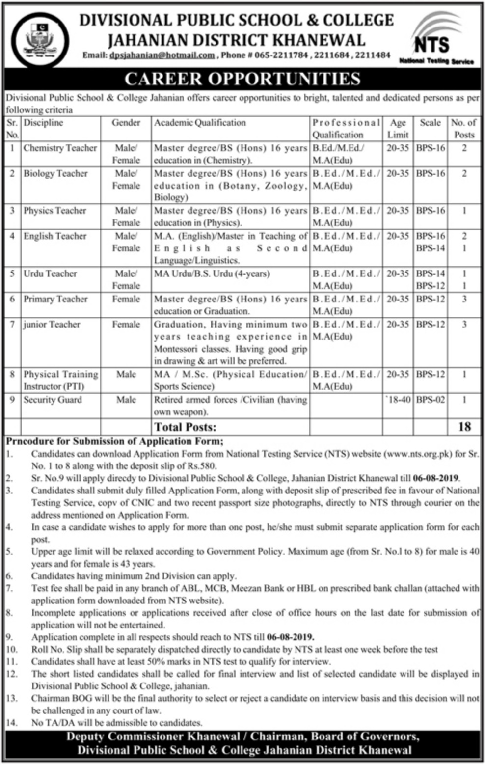 Divisional Public School & College Jahanian Khanewal Jobs 2019 Download NTS Application Form