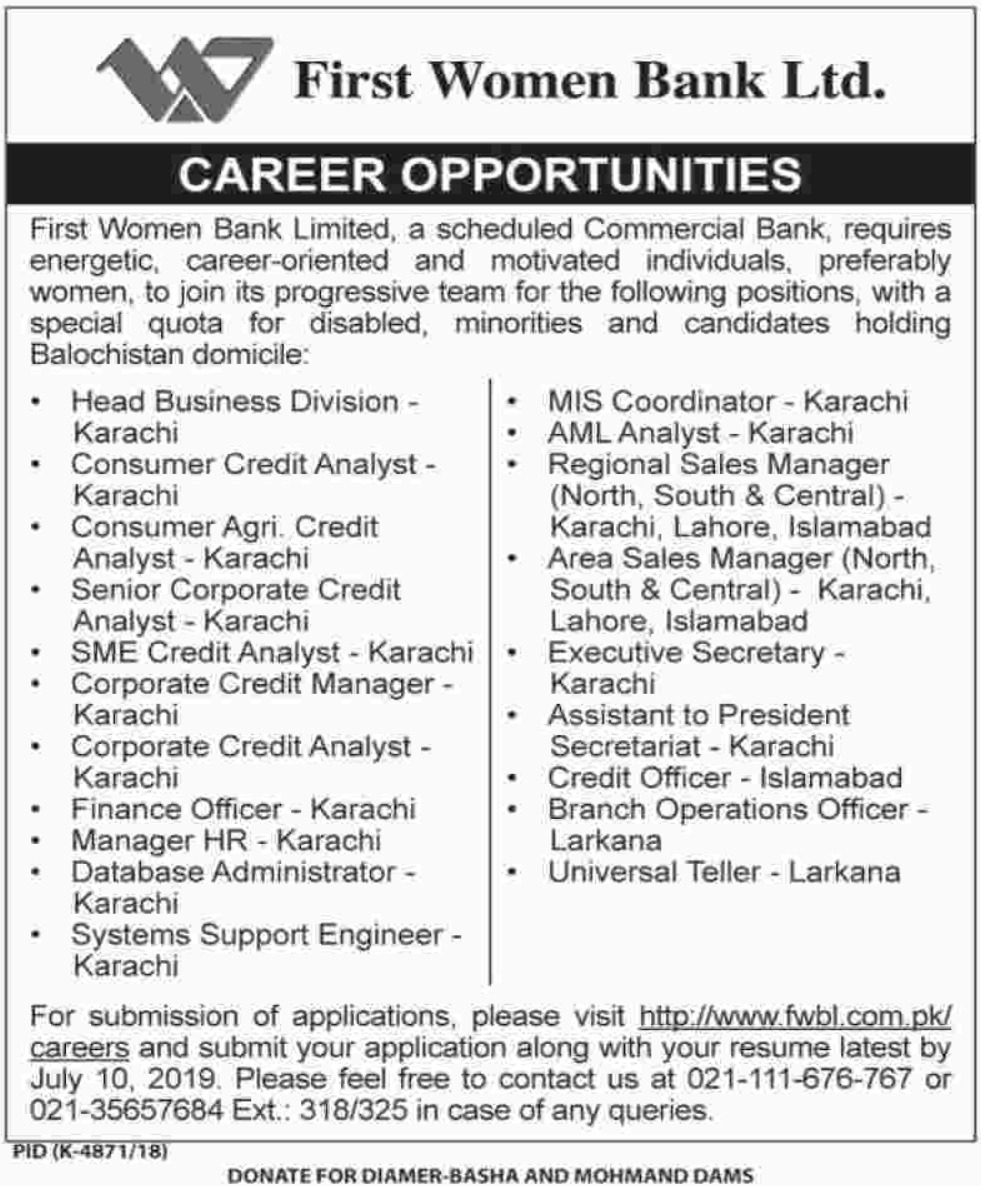First Women Bank Ltd Jobs 2019