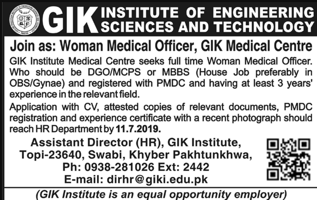 GIK Institute of Engineering Sciences & Technology Swabi Jobs 2019 Khyber Pakhtunkhwa
