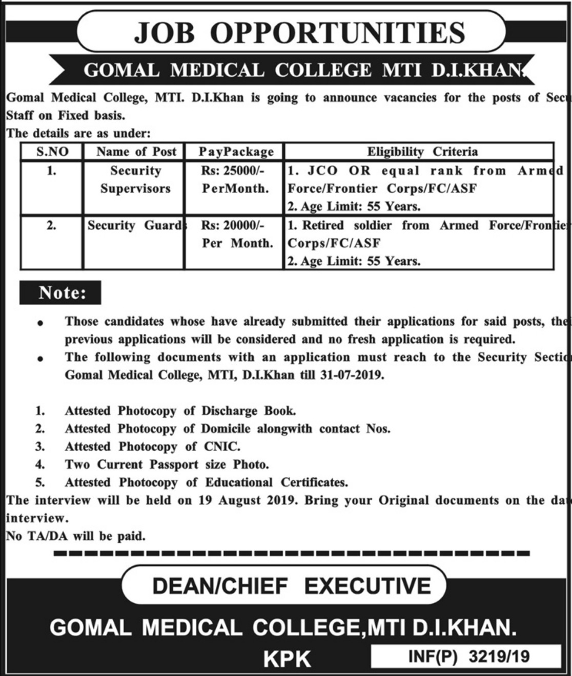 Gomal Medical College MTI D.I.Khan Jobs 2019 KPK