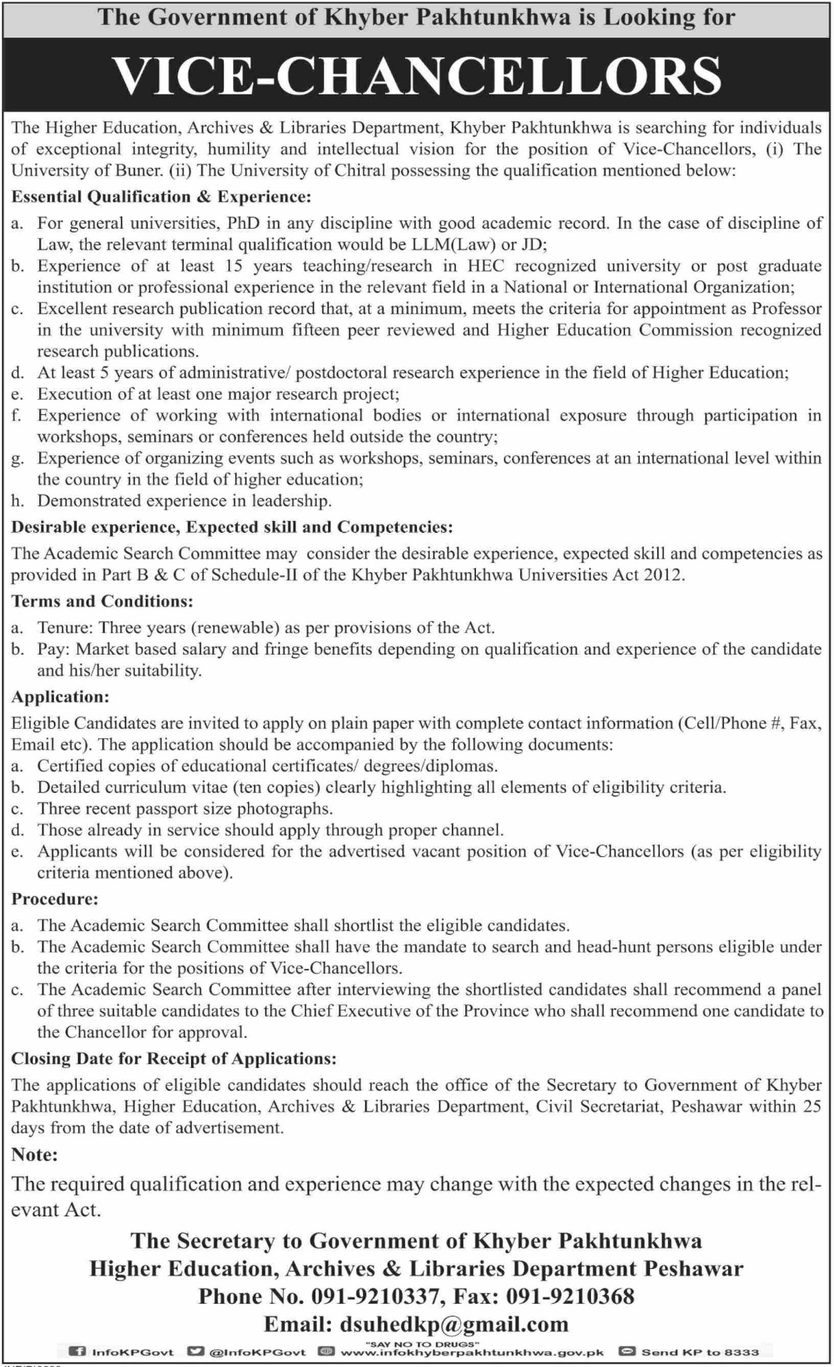 Higher Education Archives & Libraries Department Khyber Pakhtunkhwa Jobs 2019