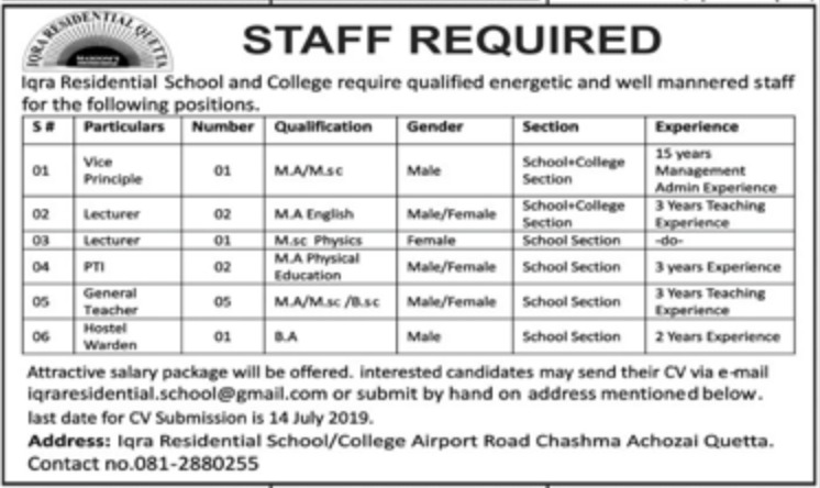 Iqra Residential School and College Quetta Jobs 2019 Balochistan