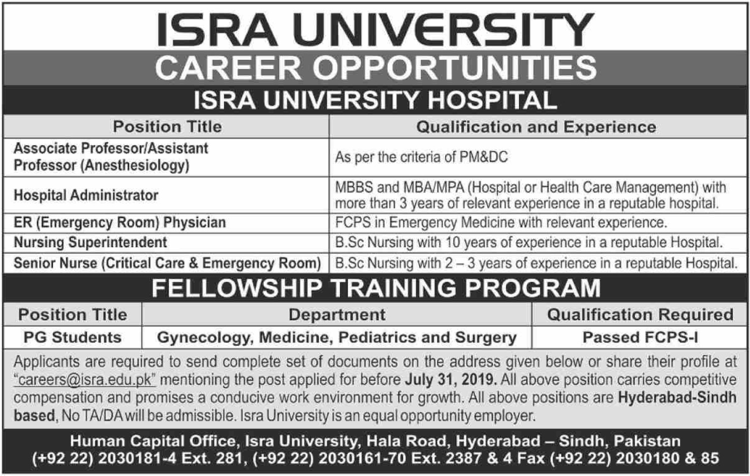 Isra University Hyderabad Jobs 2019 Sindh