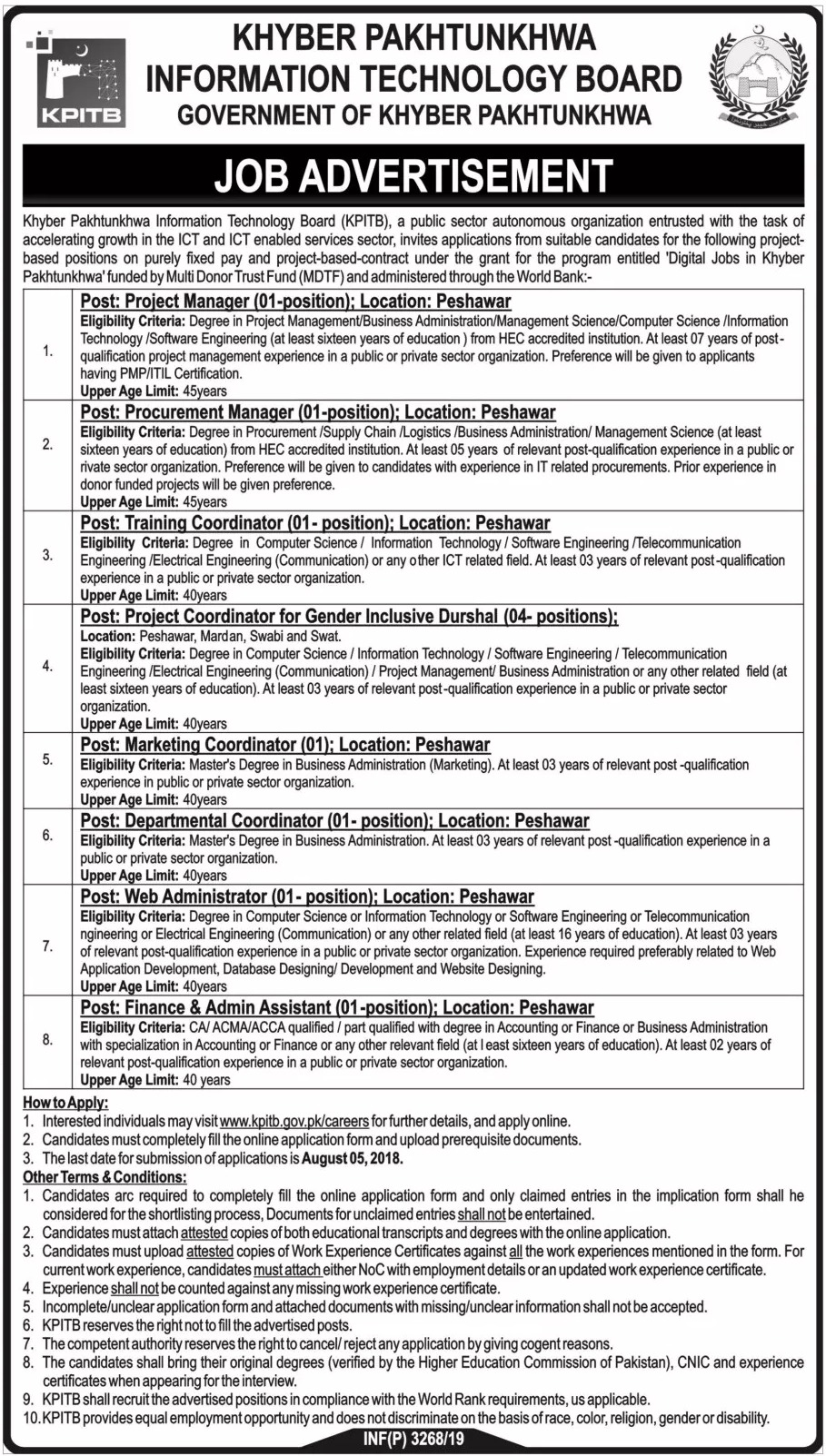 Khyber Pakhtunkhwa Information Technology Board KPITB Jobs 2019 Apply Online