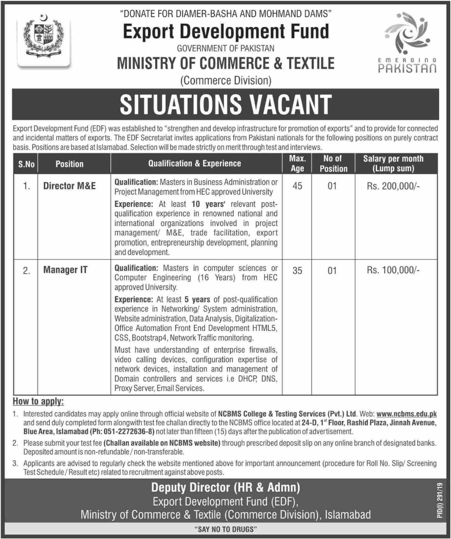 Ministry of Commerce & Textile Jobs 2019 Export Development Fund