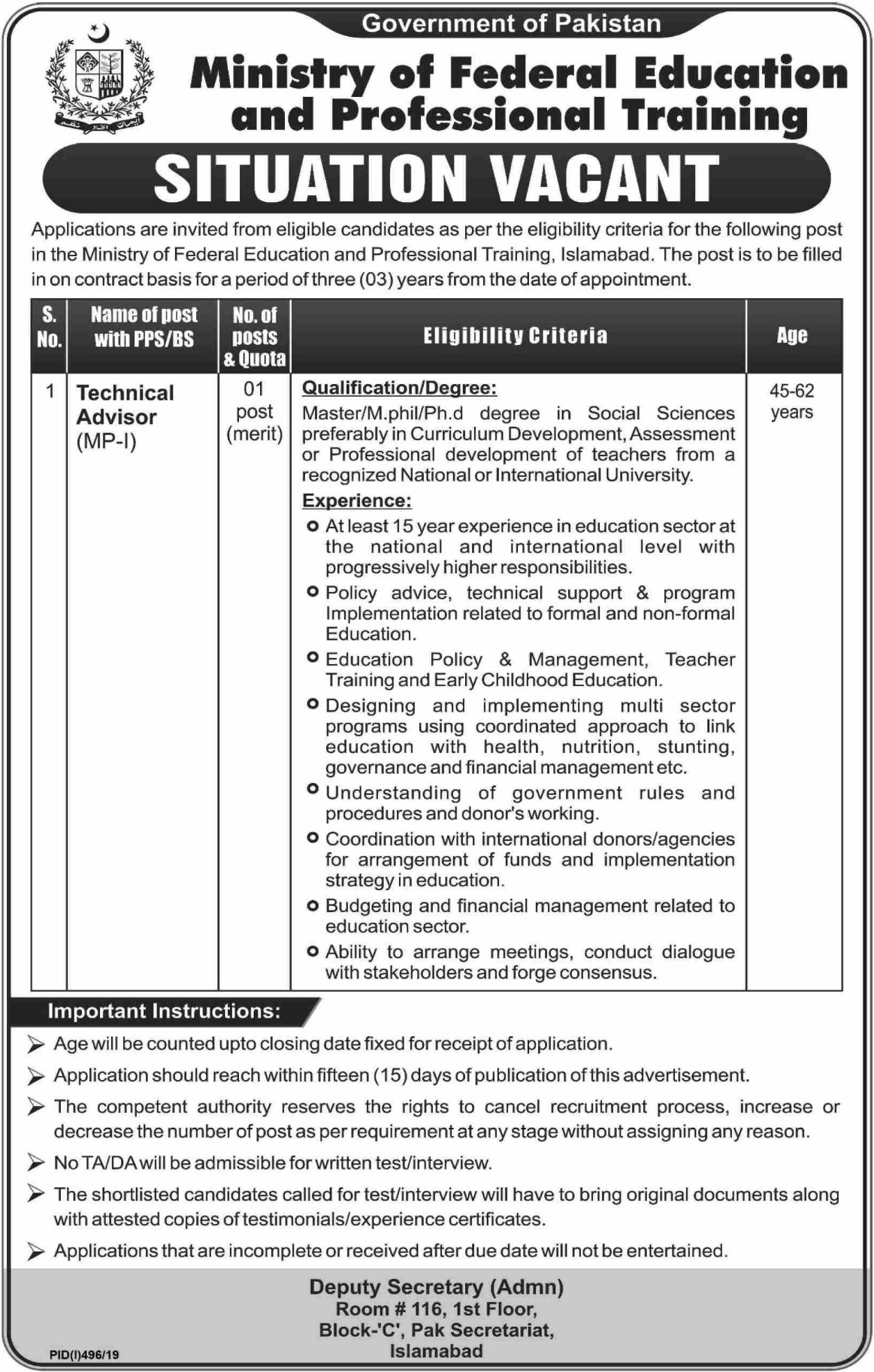 Ministry of Federal Education and Professional Training Jobs 2019