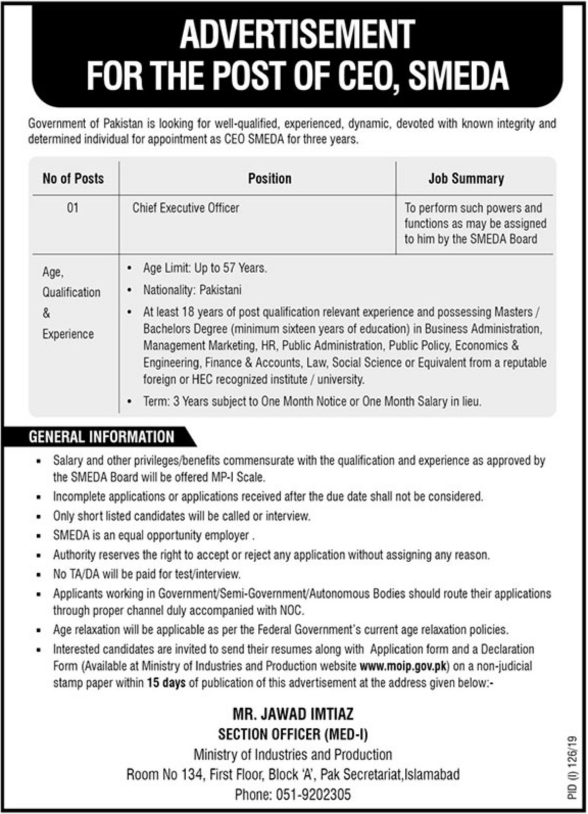 Ministry of Industries & Production Jobs 2019 CEO SMEDA