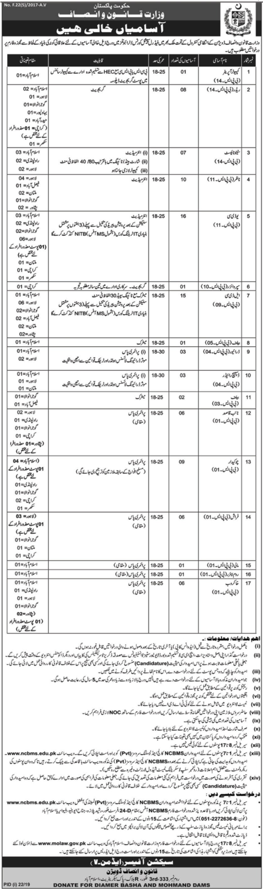 Ministry of Law & Justice Jobs 2019 Apply through NCMBS