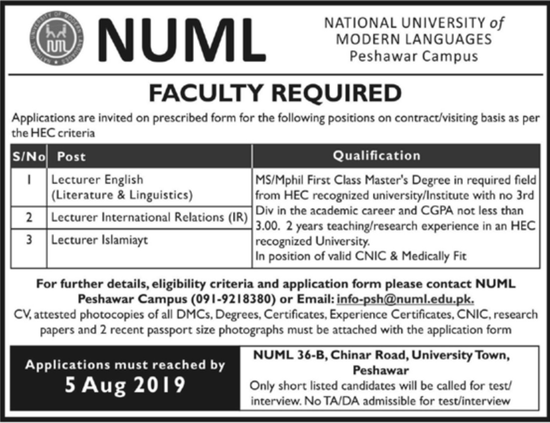 National University of Modern Languages NUML Jobs 2019 Peshawar Campus