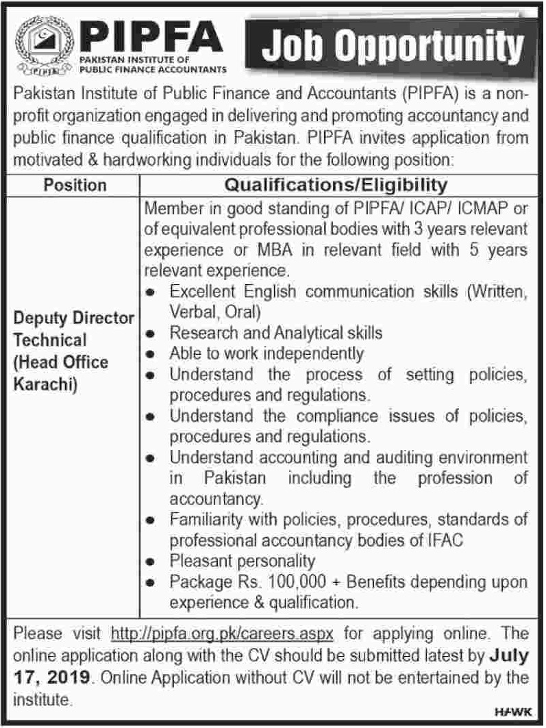 PIPFA Jobs 2019 Pakistan Institute of Public Finance & Accountants