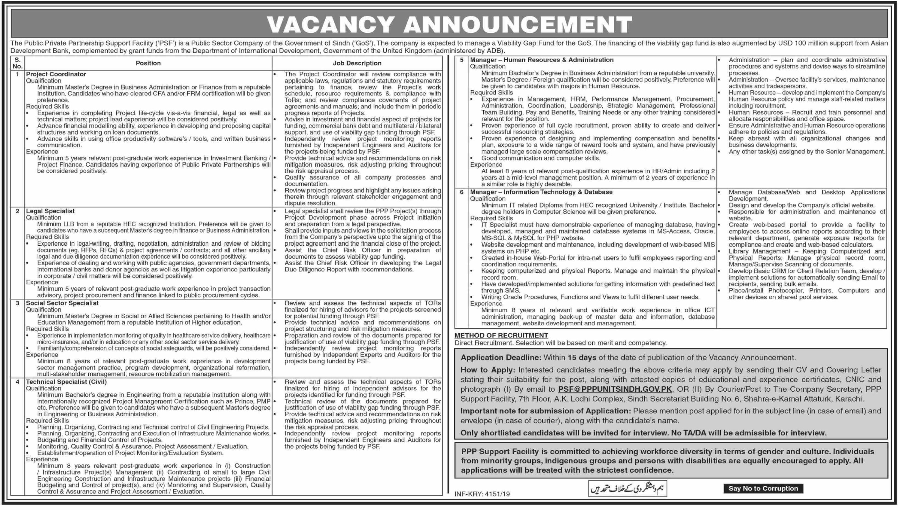 PPP Support Facility Government of Sindh Jobs 2019