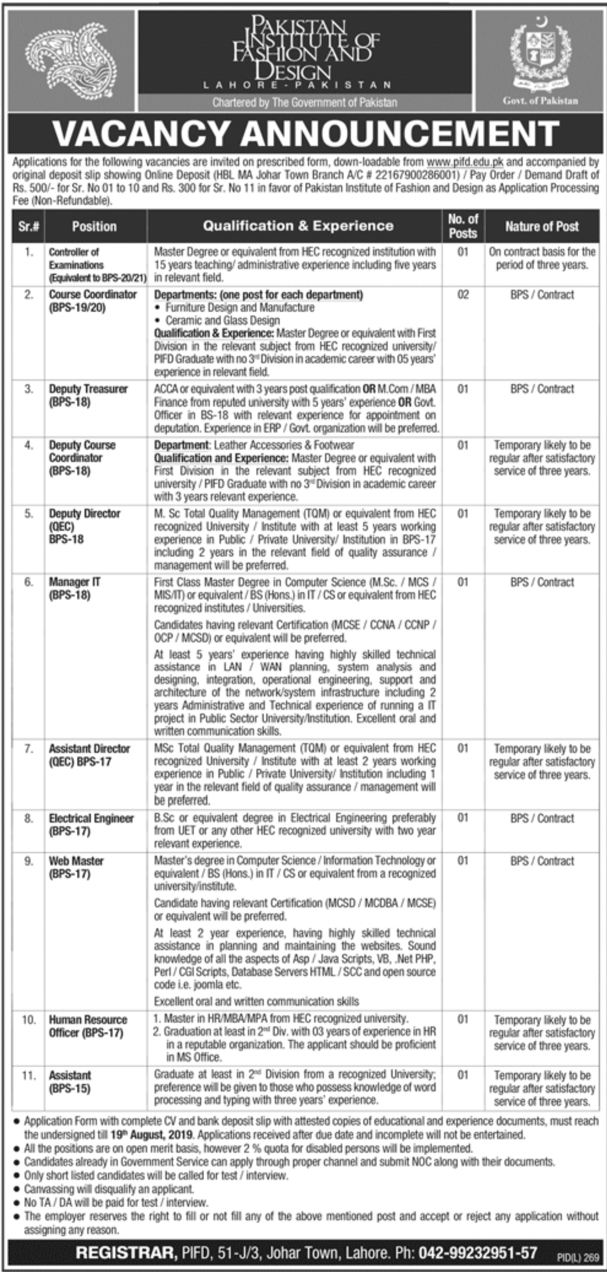 Pakistan Institute of Fashion & Design PIFD Jobs 2019 Download Application Form