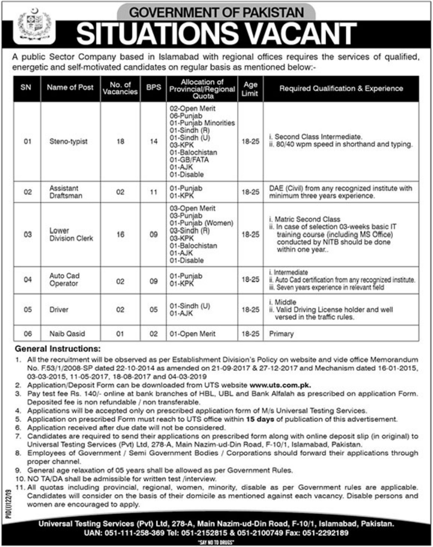 Public Sector Organization Jobs 2019 Apply through UTS