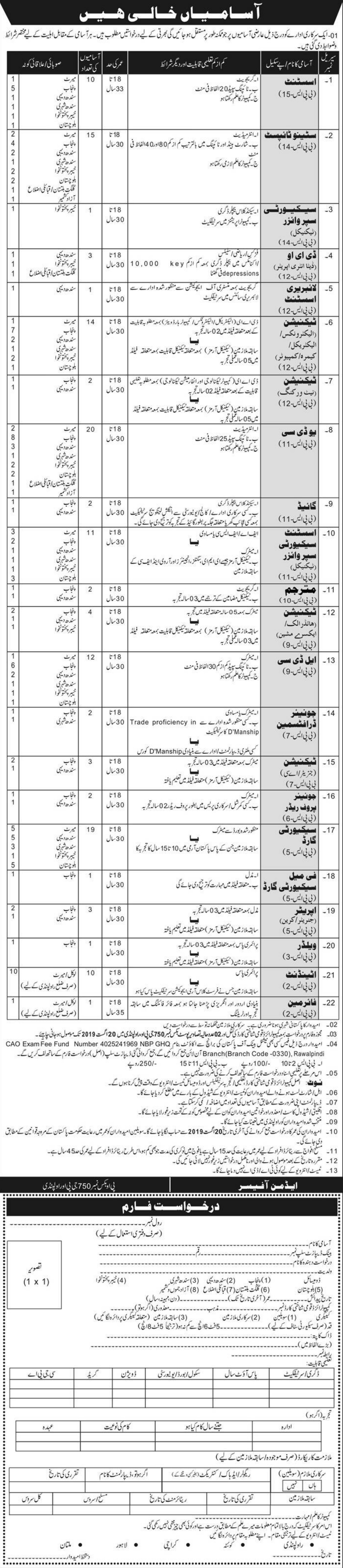 Public Sector Organization Jobs 2019 P.O.Box 750 Rawalpindi