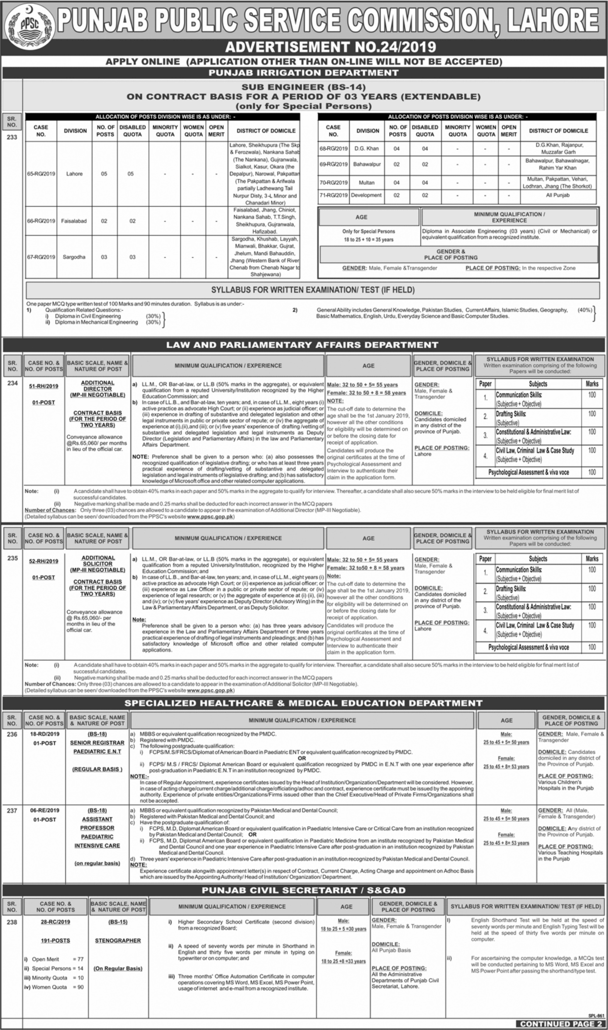 Punjab Public Service Commission PPSC Jobs 2019 Stenographer S&GAD Apply Online