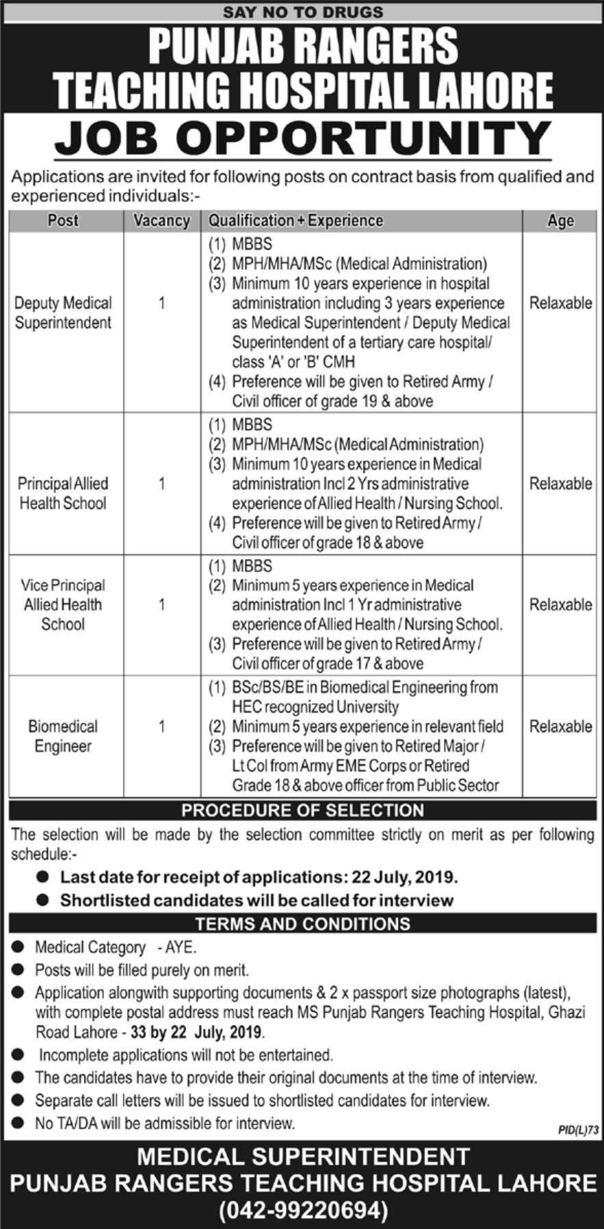 Punjab Rangers Teaching Hospital Lahore Jobs 2019