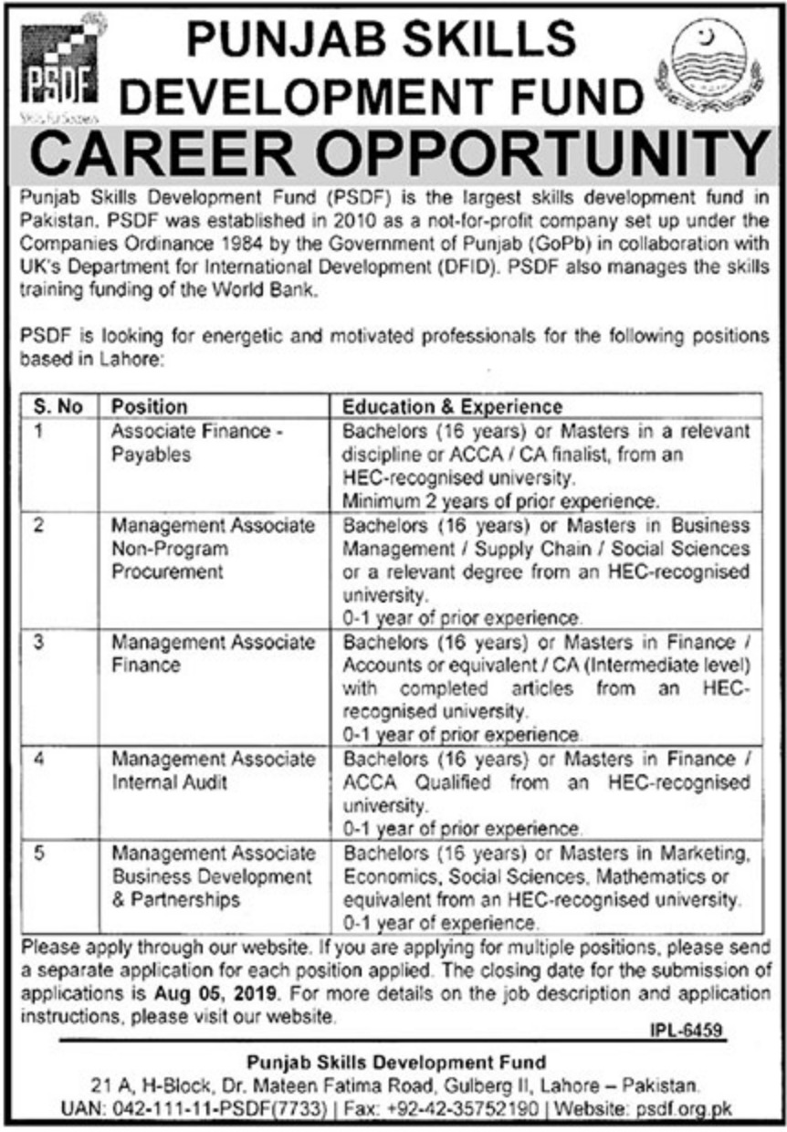 Punjab Skills Development Fund PSDF Jobs 2019