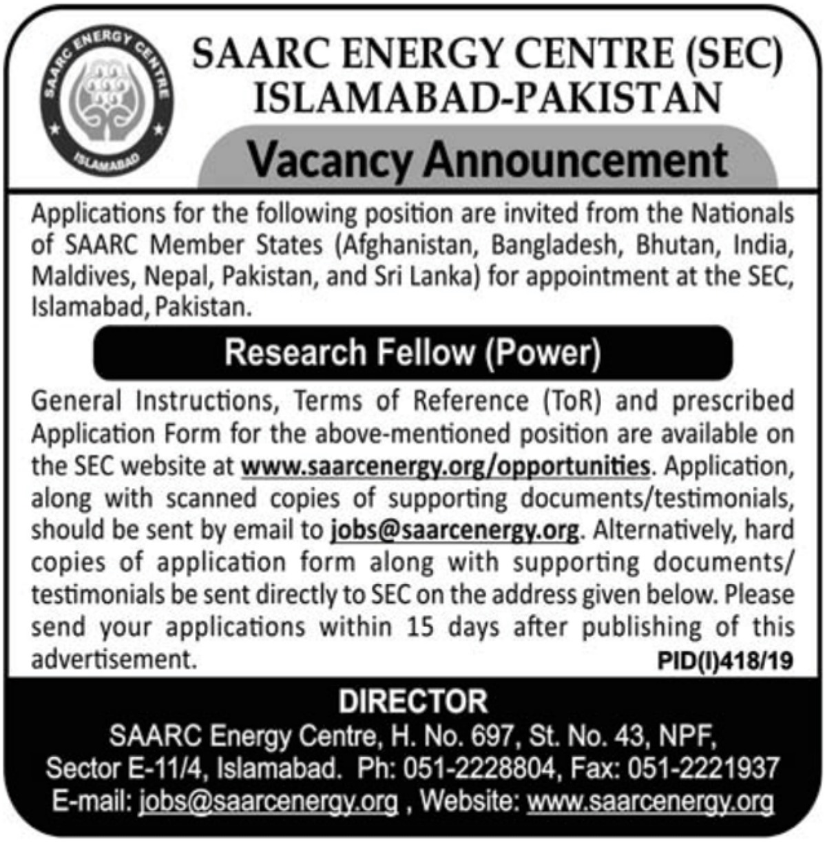 SAARC Energy Centre SEC Islamabad Jobs 2019