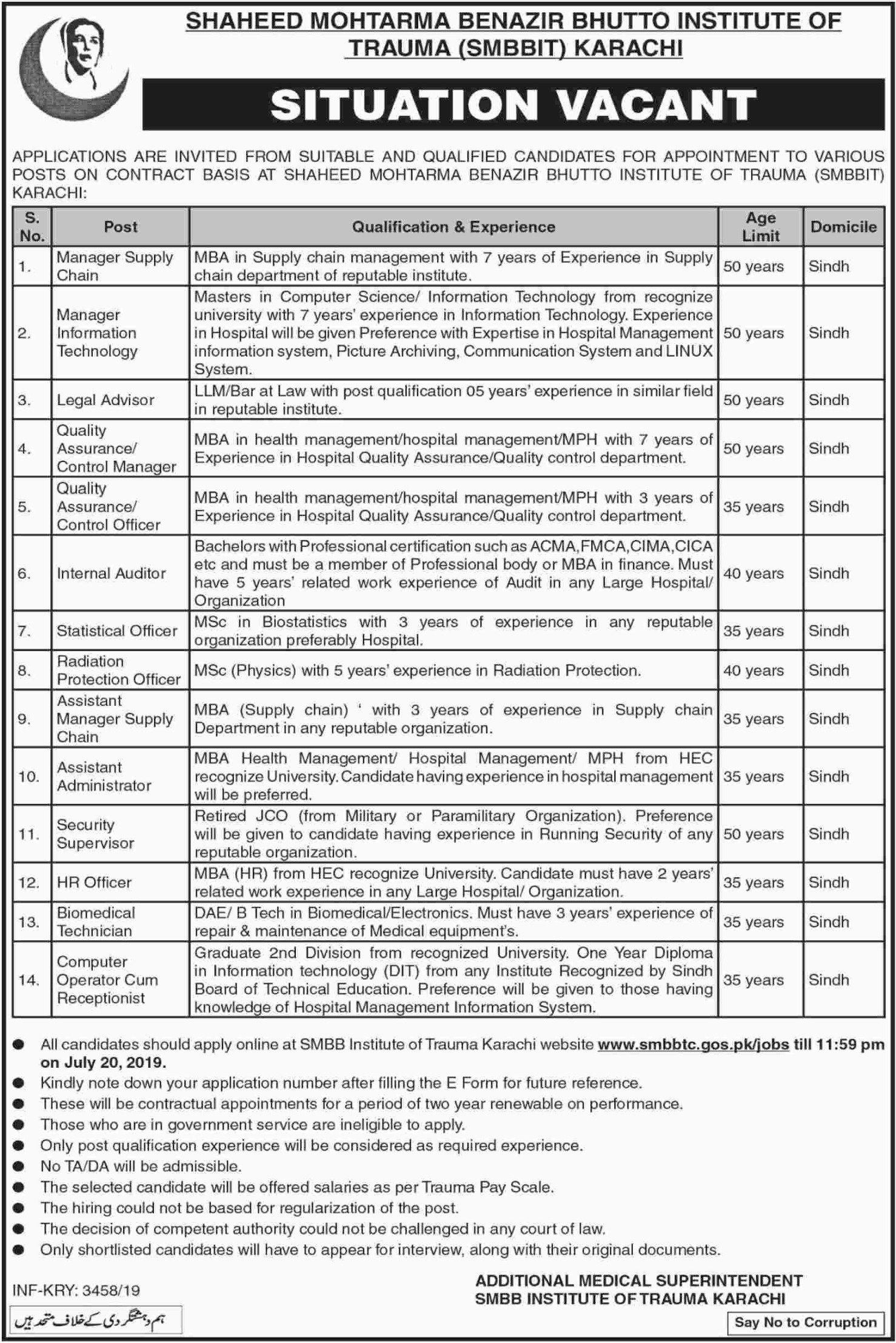 Shaheed Mohtarma Benazir Bhutto Institute of Trauma SMBBIT Karachi Jobs 2019 Sindh