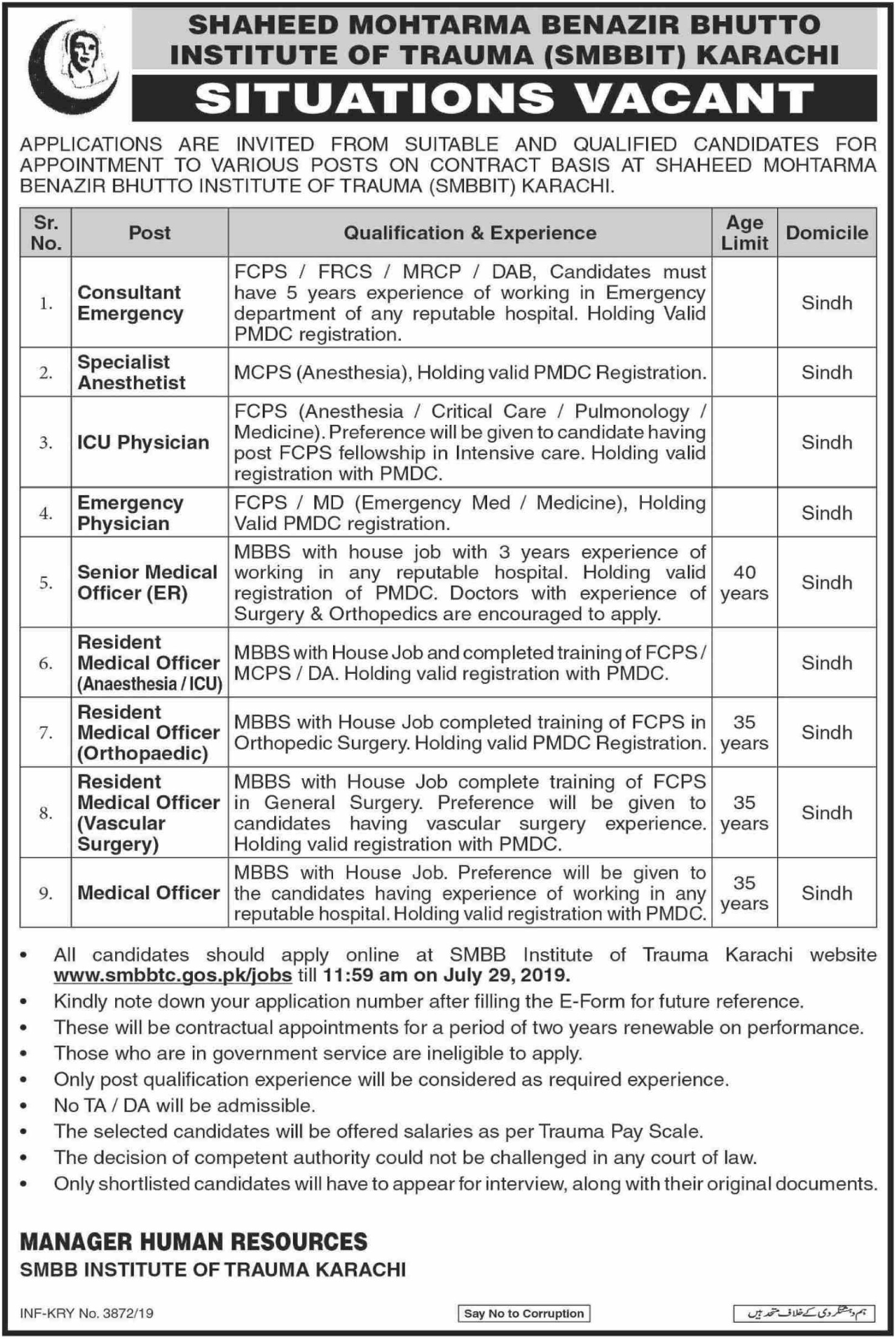 Shaheed Mohtarma Benazir Bhutto Institute of Trauma SMBBIT Karachi Jobs 2019(2)