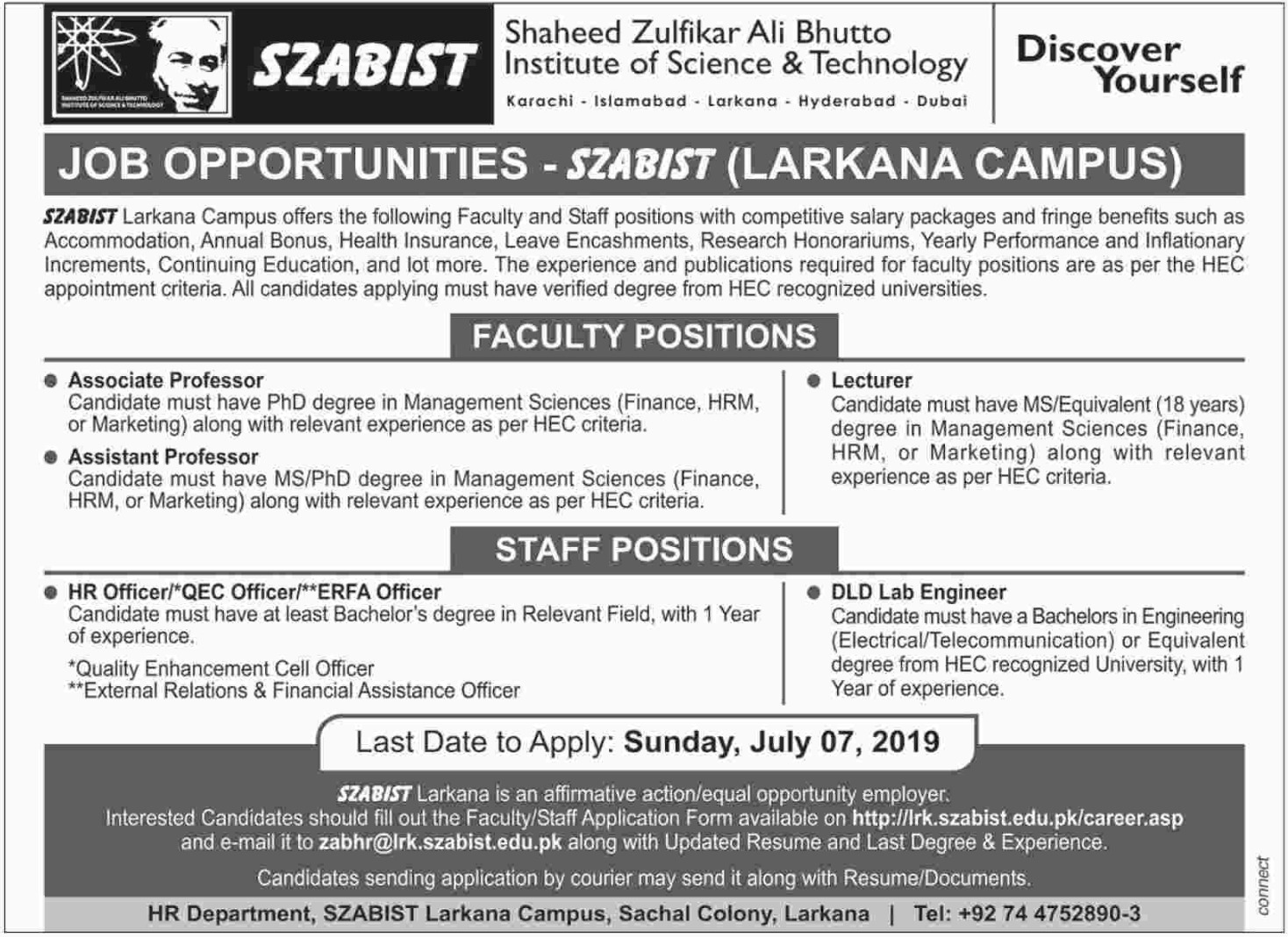 Shaheed Zulfikar Ali Bhutto Institute of Science & Technology SZABIST Jobs 2019 Larkana Campus