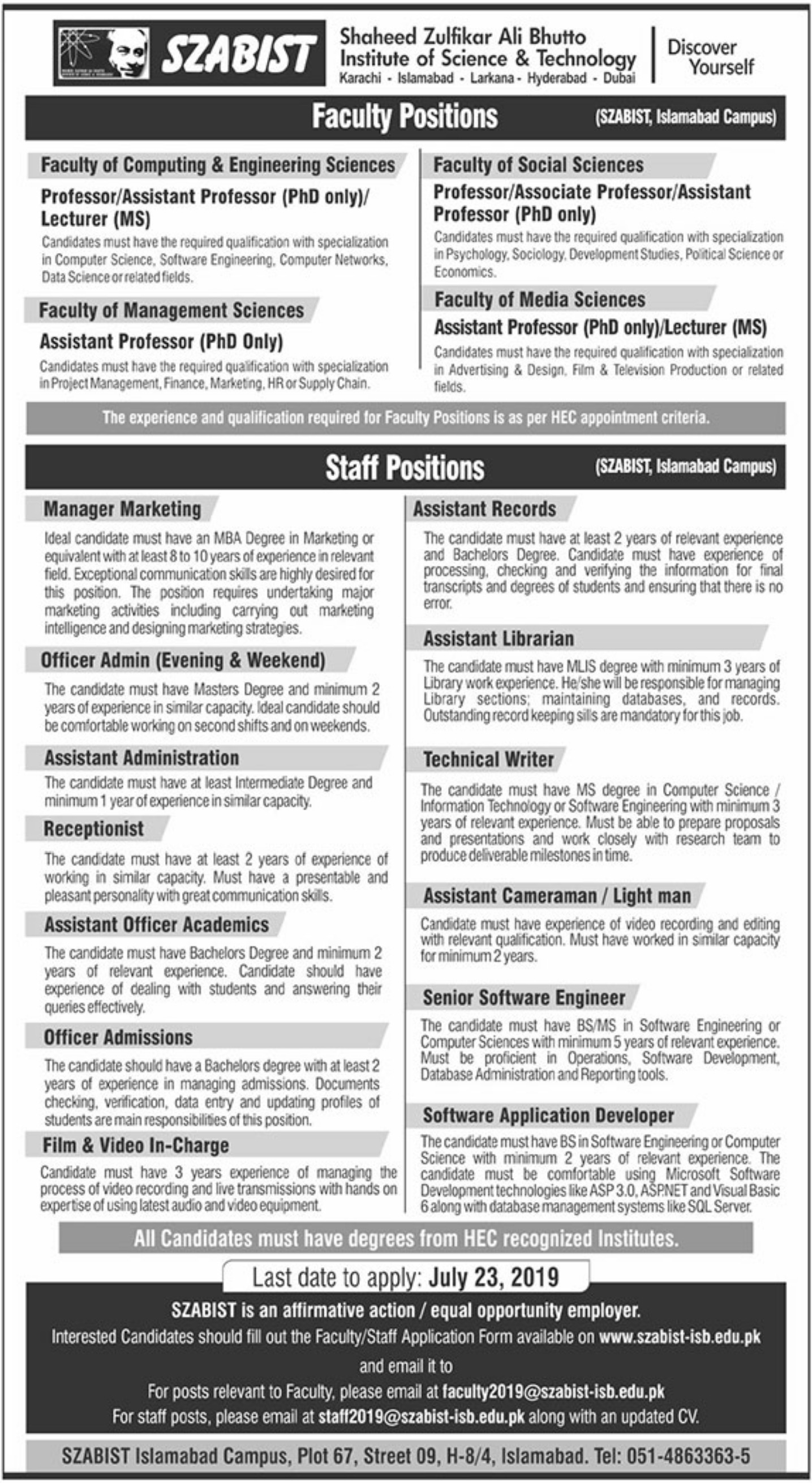 Shaheed Zulfikar Ali Bhutto Institute of Science & Technology SZABIST Jobs 2019