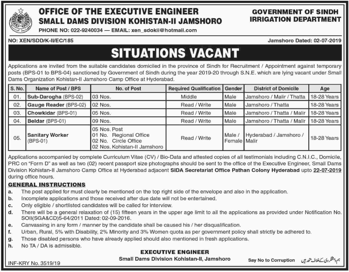 Sindh Irrigation Department Jobs 2019 Small Dams Division Kohistan-II Jamshoro