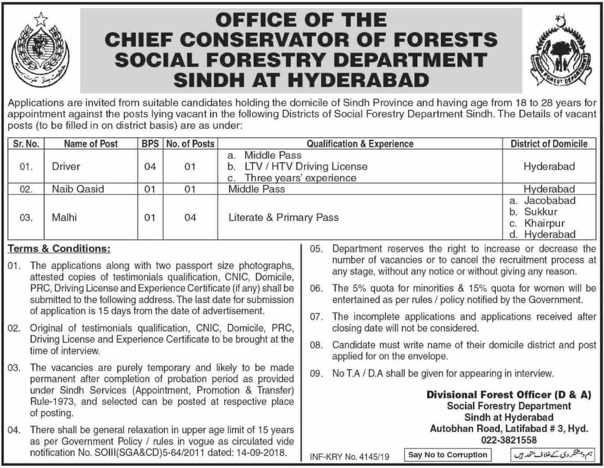 Social Forestry Department Hyderabad Jobs 2019 Sindh