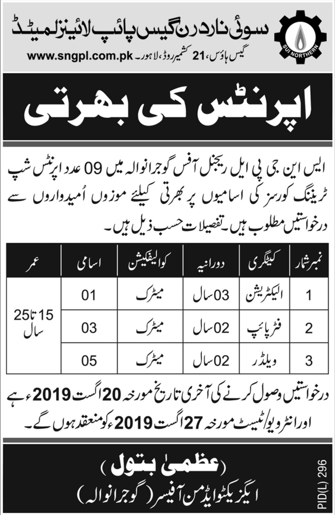 Sui Northern Gas Pipelines Ltd SNGPL Apprenticeship 2019