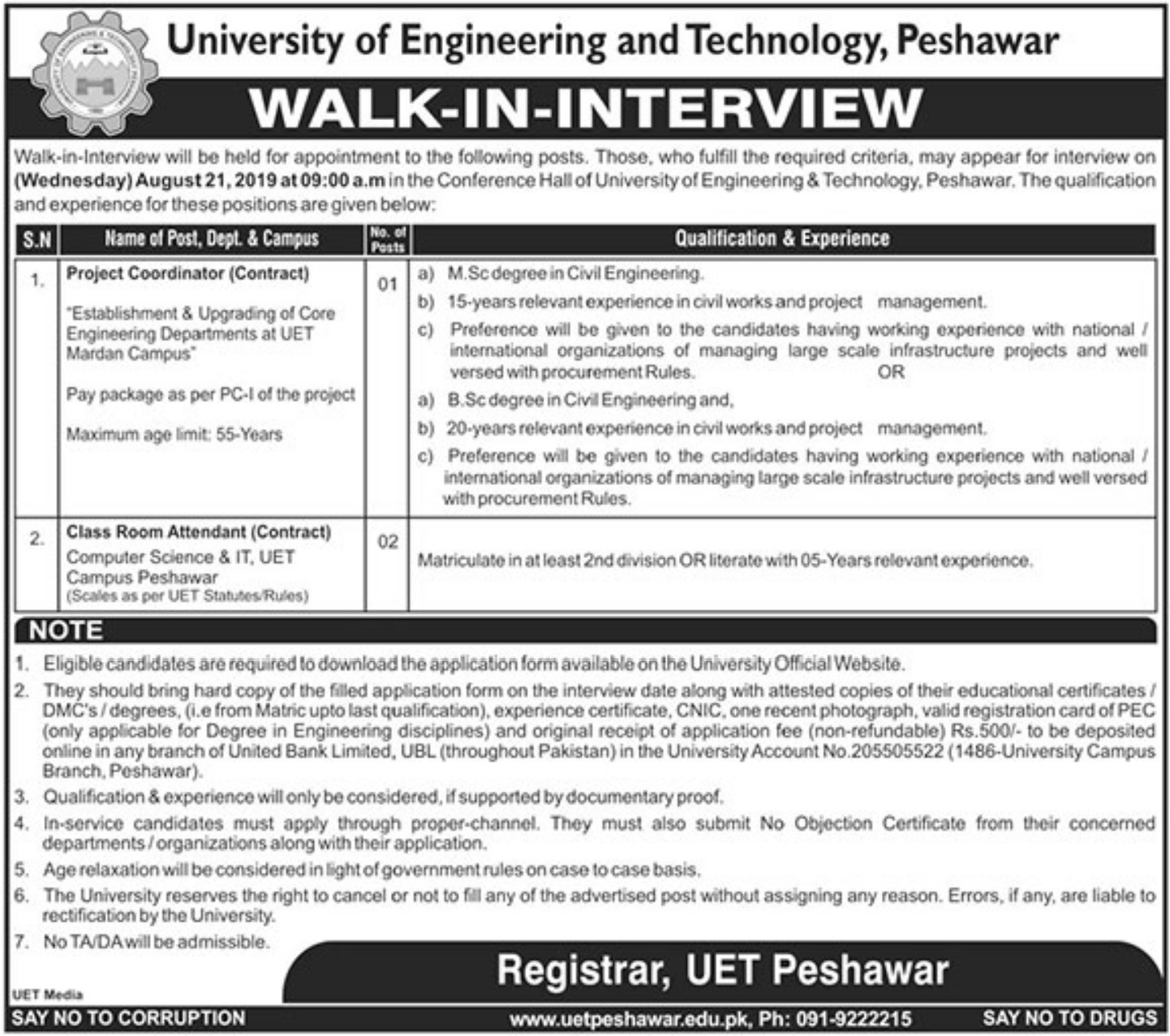UET Peshawar Jobs 2019 Download Application Form University of Engineering & Technology