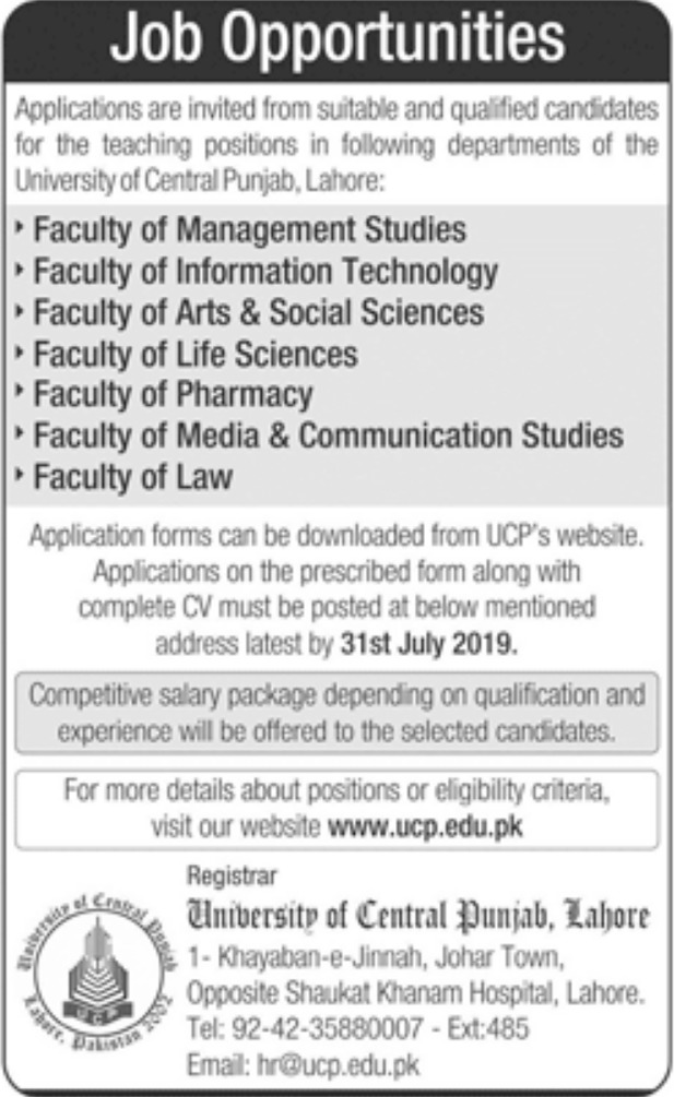 University of Central Punjab UCP Lahore Jobs 2019