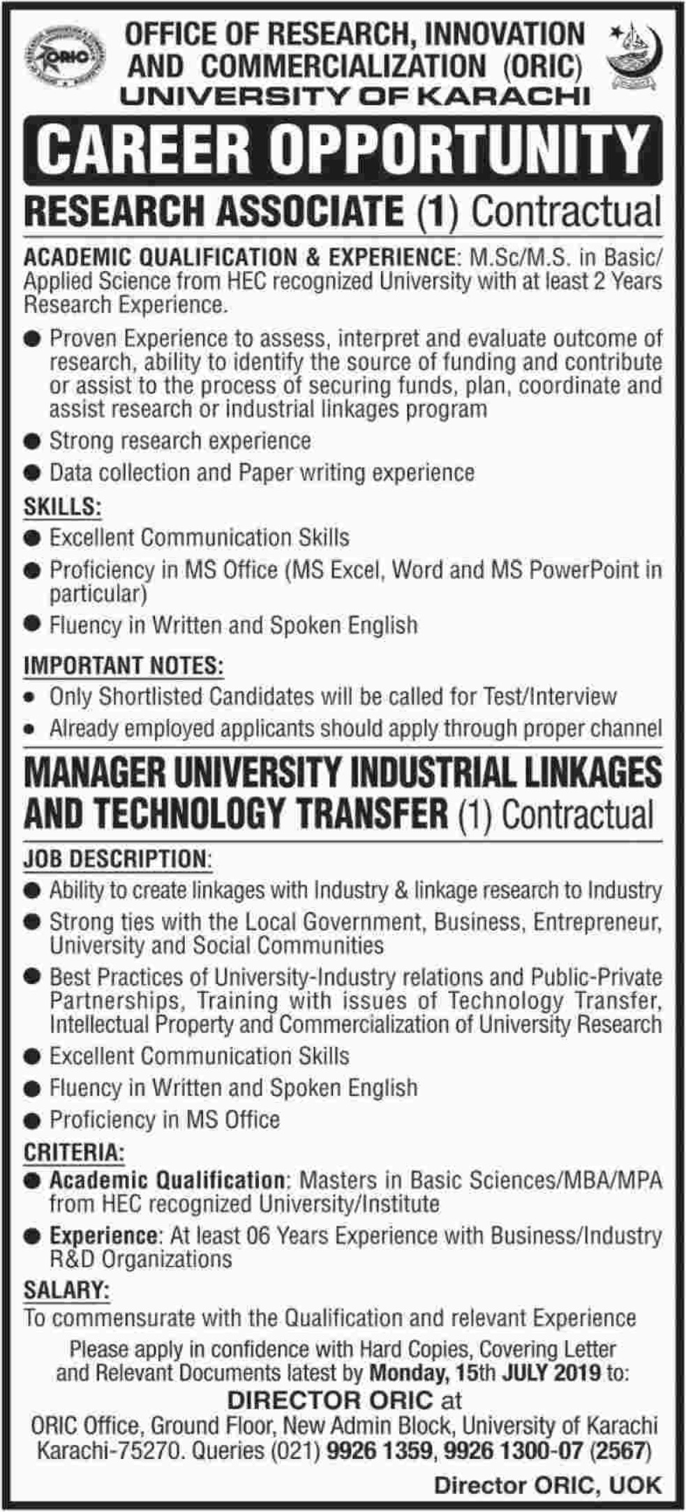 University of Karachi Jobs 2019 ORIC