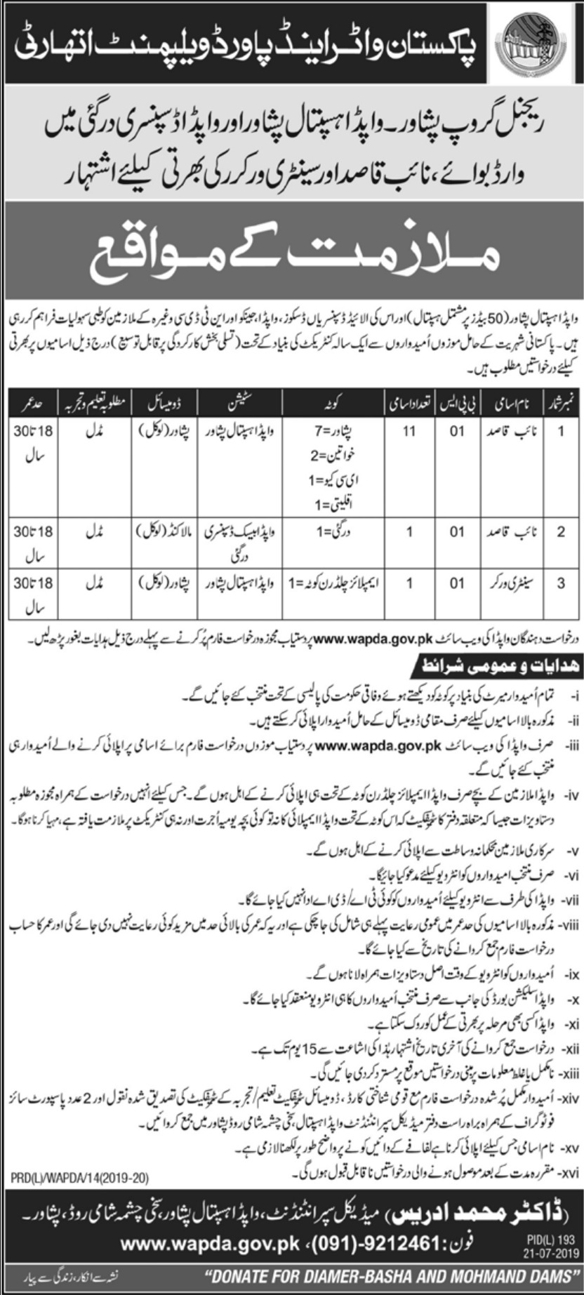 Wapda Hospital Peshawar Jobs 2019 Download Application Form
