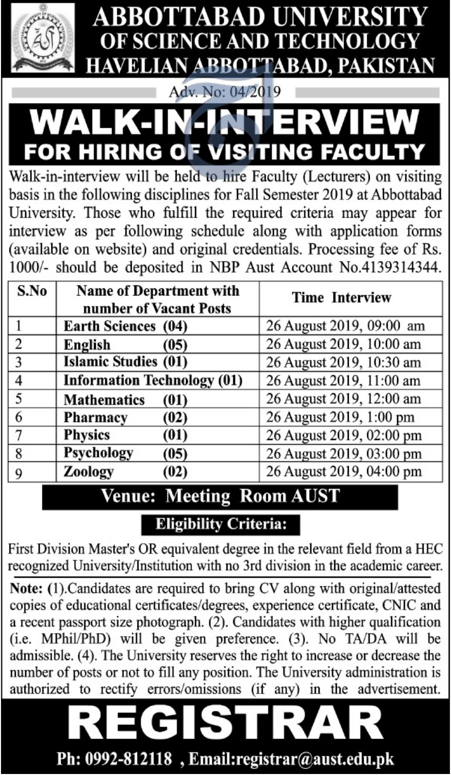 Abbottabad University of Science & Technology AUST Jobs 2019 Walk-In-Interview