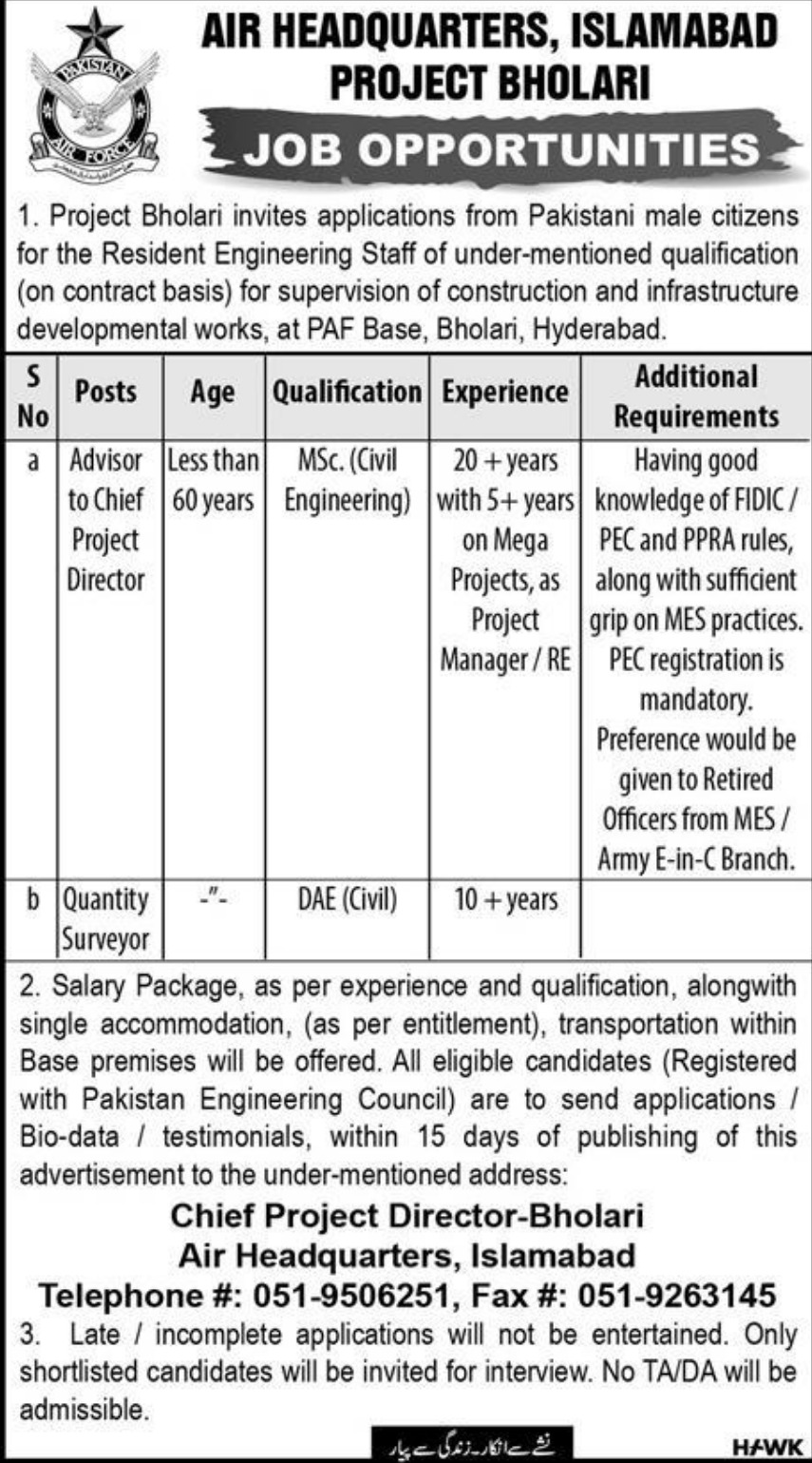 Air Headquarters Islamabad Jobs 2019