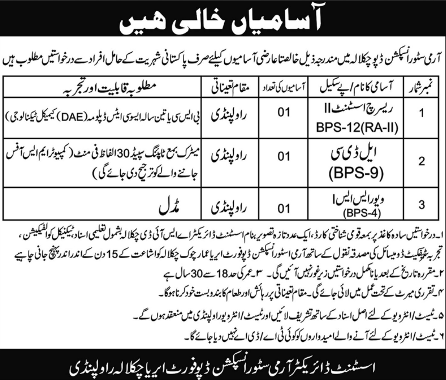 Army Store Inspection Depot Chaklala Rawalpindi Jobs 2019