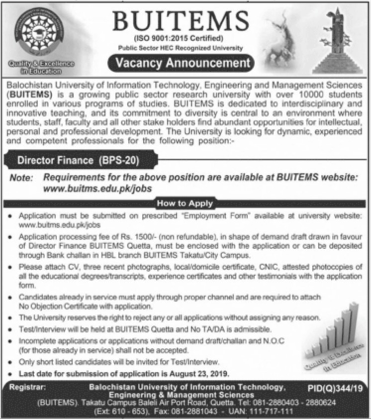 BUITEMS Jobs 2019 Balochistan University of Information Technology Engineering & Management Sciences