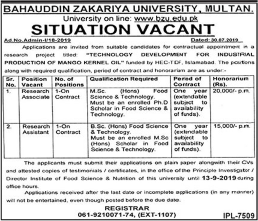 Bahauddin Zakriya University BZU Multan Jobs 2019