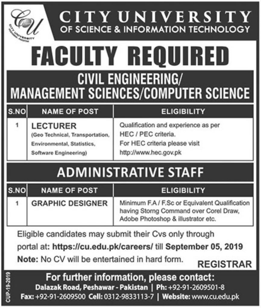 City University of Science & Technology Peshawar Jobs 2019