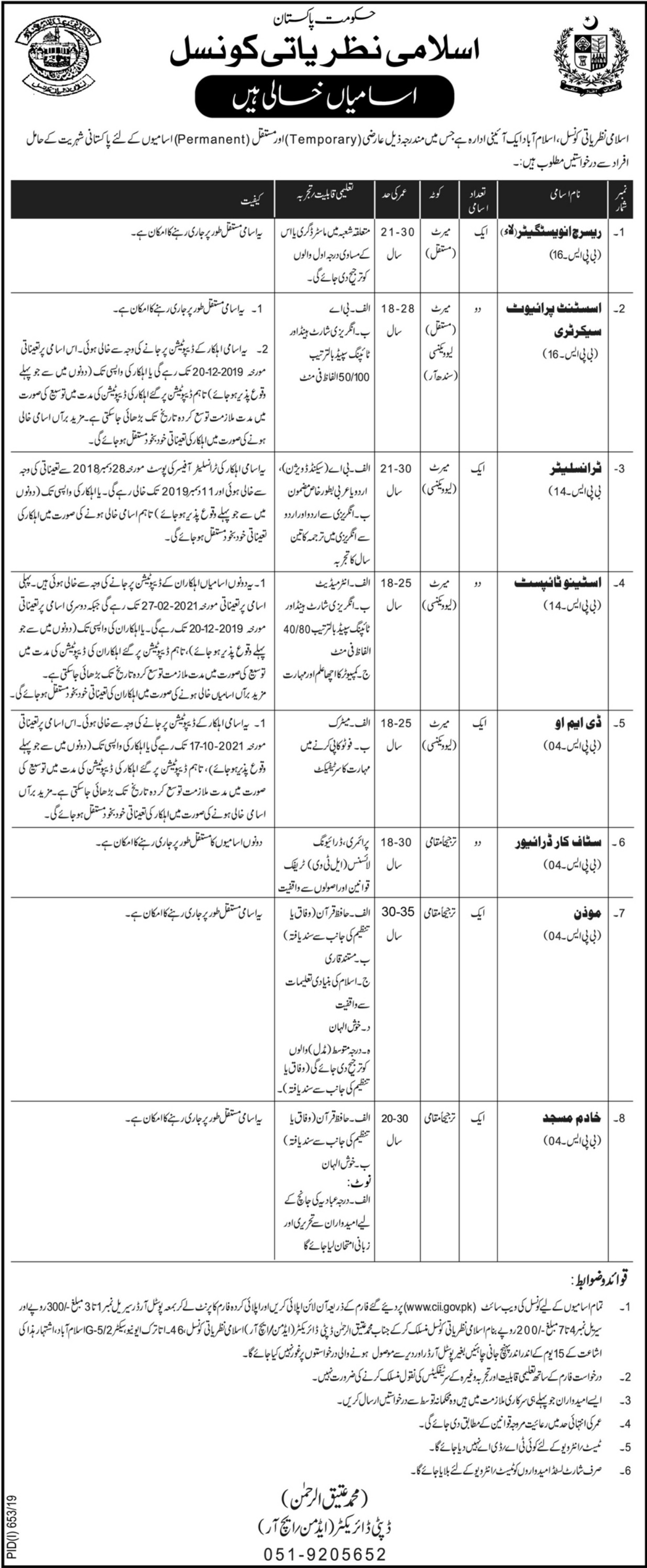 Council of Islamic Ideology Jobs 2019 Apply Online
