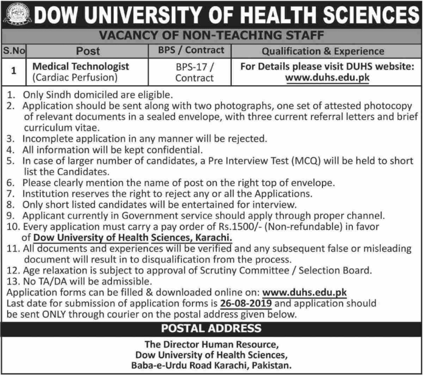 Dow University of Health Sciences Karachi Jobs 2019