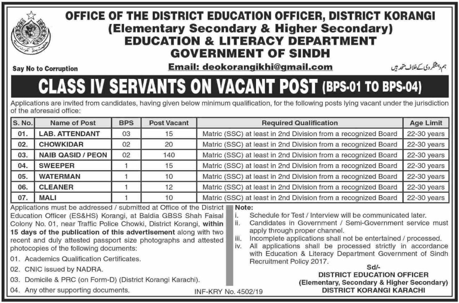 Education & Literacy Department Government of Sindh Jobs 2019 Korangi