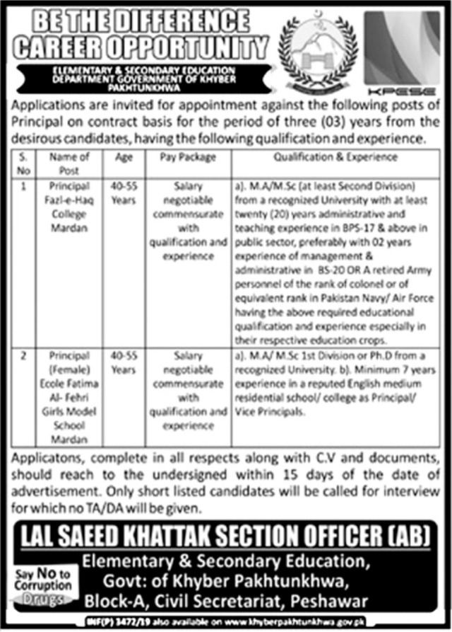 Elementary & Secondary Education Department ESED Peshawar Jobs 2019 KPK