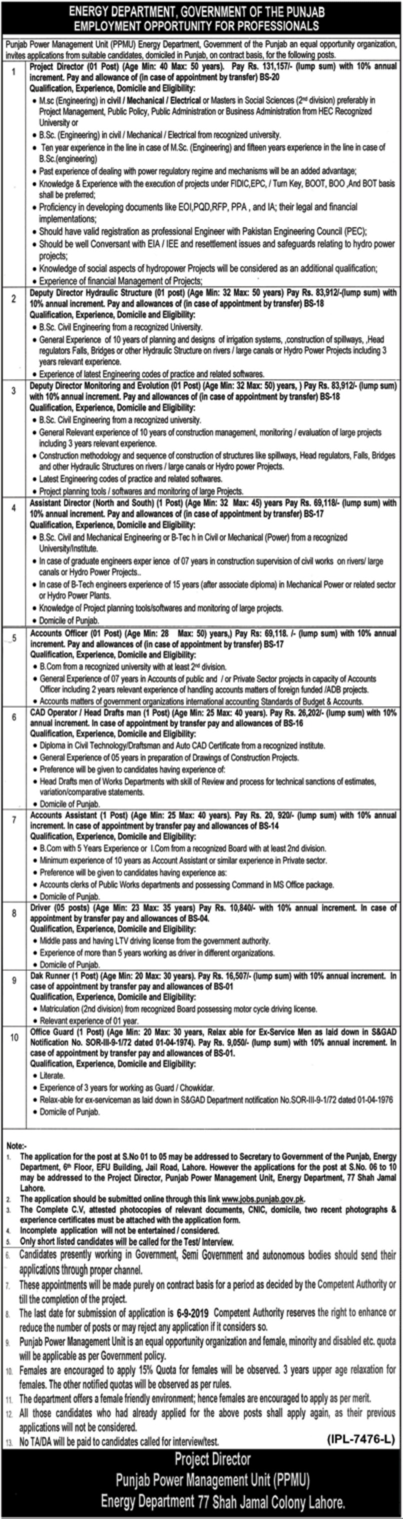 Energy Department Government of Punjab Jobs 2019 Apply Online