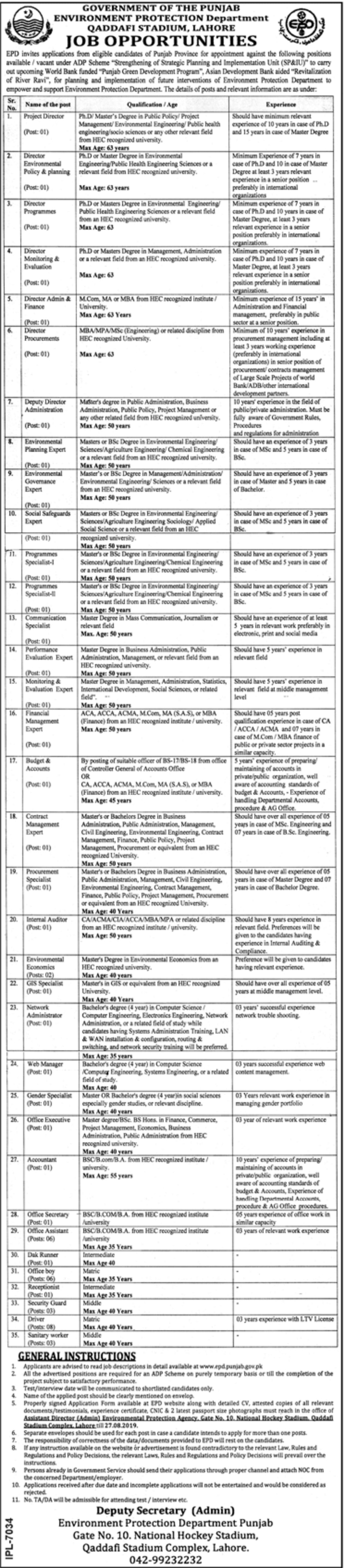 Environment Protection Department EPD Punjab Lahore Jobs 2019