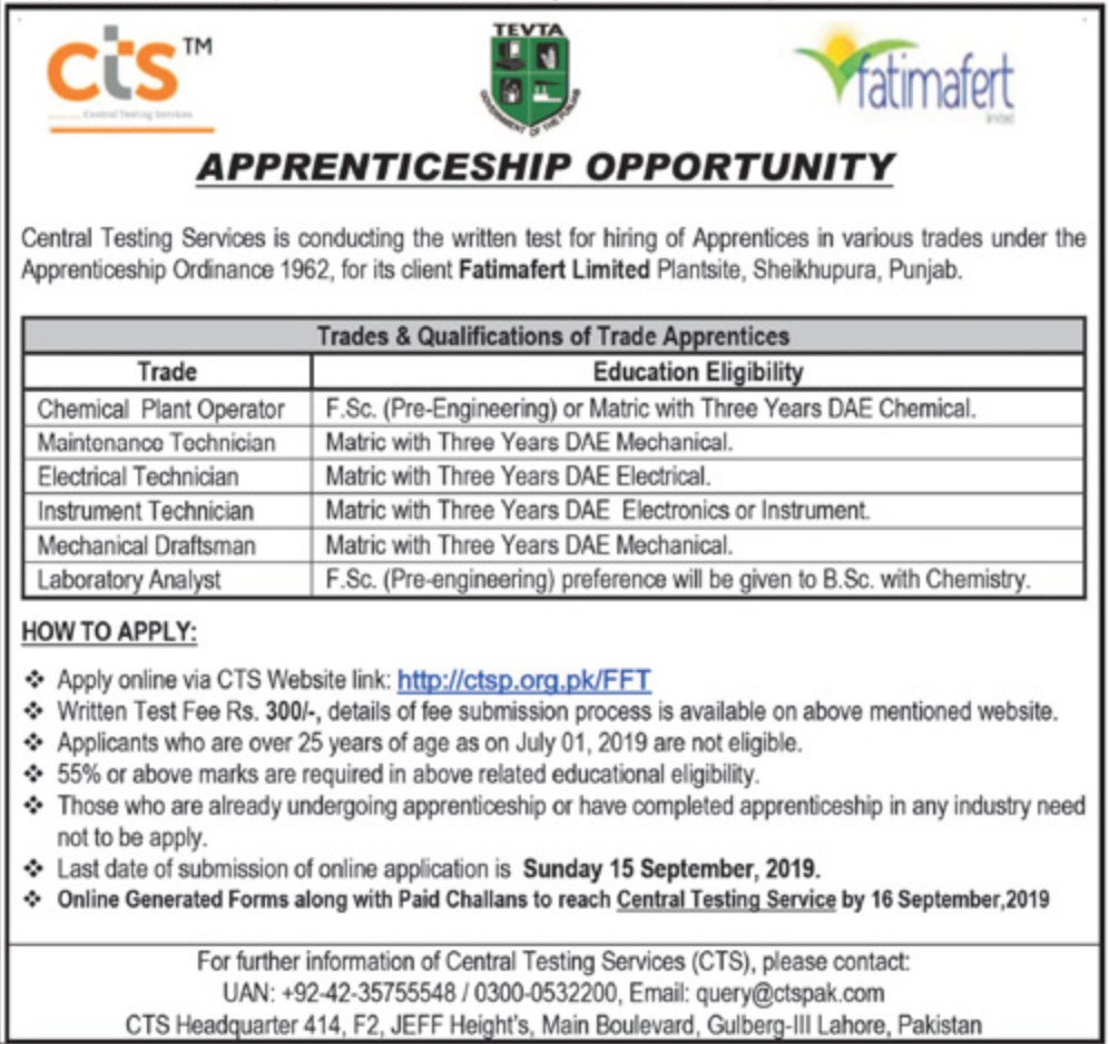 Fatimafert Limited Apprenticeship Opportunities 2019 Apply Online via CTS