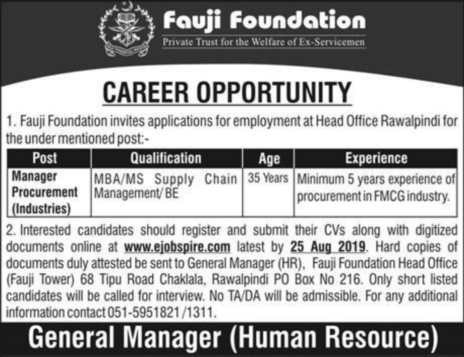Fauji Foundation Jobs 2019 Head Office Rawalpindi