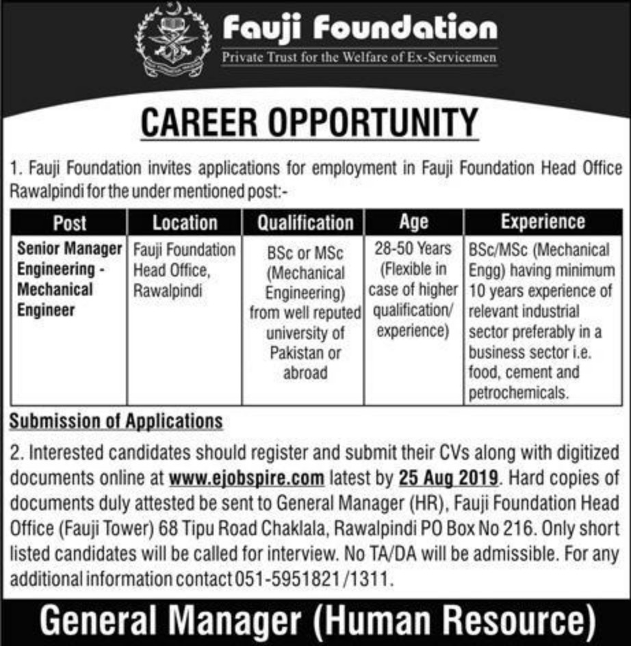Fauji Foundation Jobs 2019 Register Online